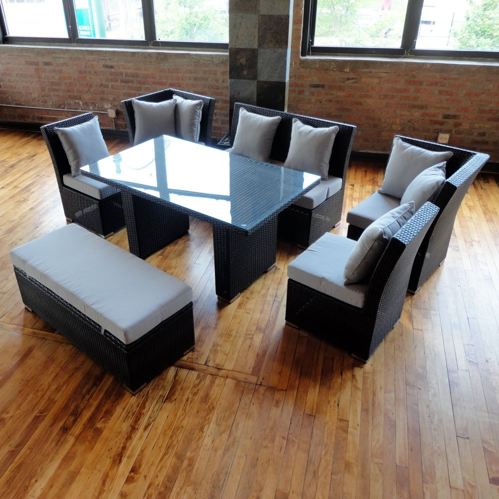 Preferred Jamaican Sofa And Dining Set In Black Wicker, Light Gray Fabric Regarding Jamaica Sectional Sofas (View 3 of 15)