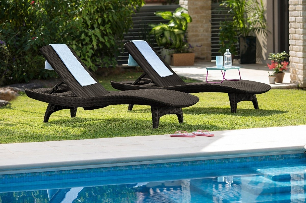 Preferred Keter 2Pc Rattan Outdoor Chaise Lounge Chairs – Patio Table Within Keter Chaise Lounge Chairs (View 12 of 15)