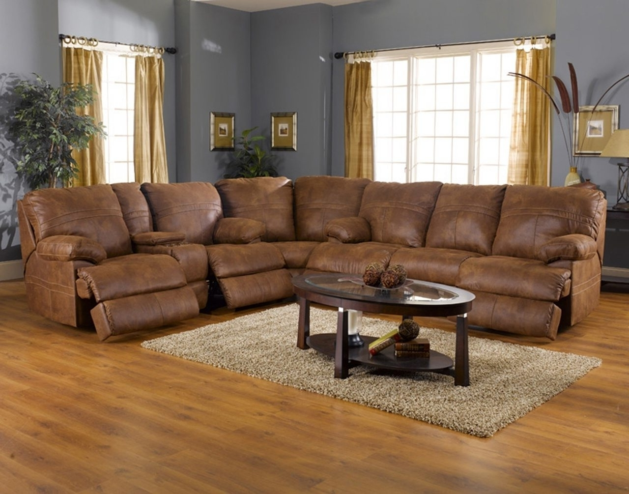 Preferred L Shaped Light Brown Leather Reclining Sectional With Oval Coffee In Leather Recliner Sectional Sofas (View 7 of 15)