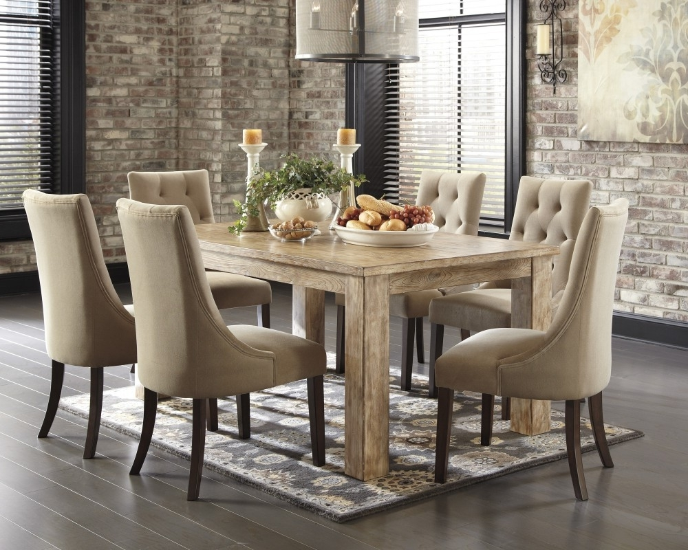 Preferred Mestler Bisque Rectangular Dining Room Table & 4 Light Brown Uph With Sofa Chairs With Dining Table (View 7 of 15)