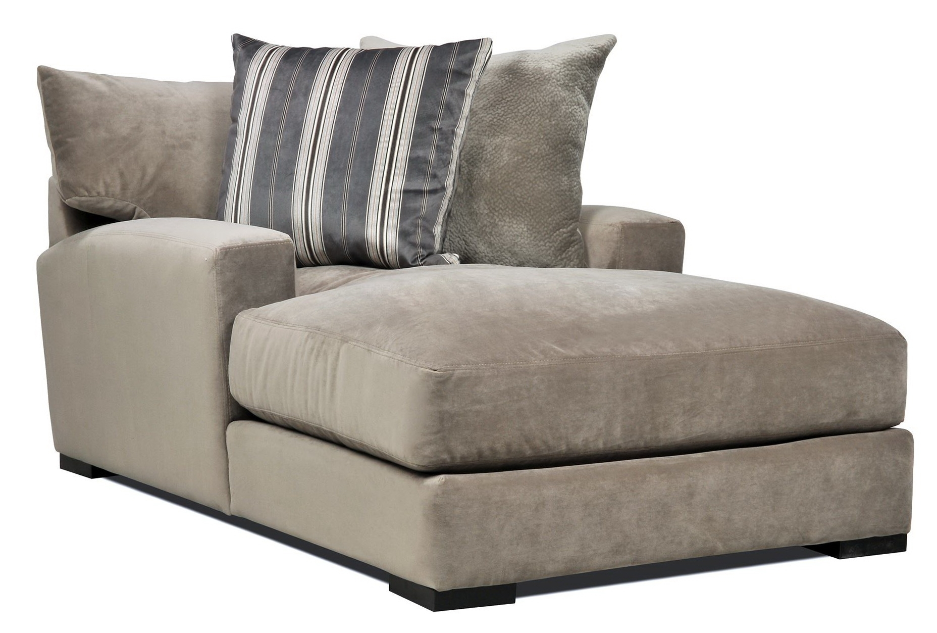 Preferred Microfiber Chaise Lounge Chairs For Double Wide Chaise Lounge Indoor With 2 Cushions (View 9 of 15)