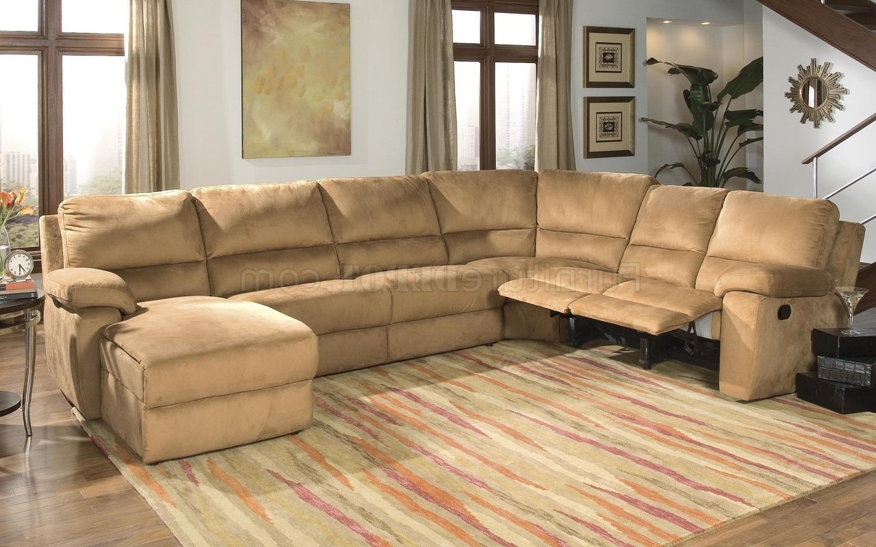 Preferred Microsuede Sectional Sofas Pertaining To Micro Suede Contemporary Reclining Sectional Sofa (View 11 of 15)