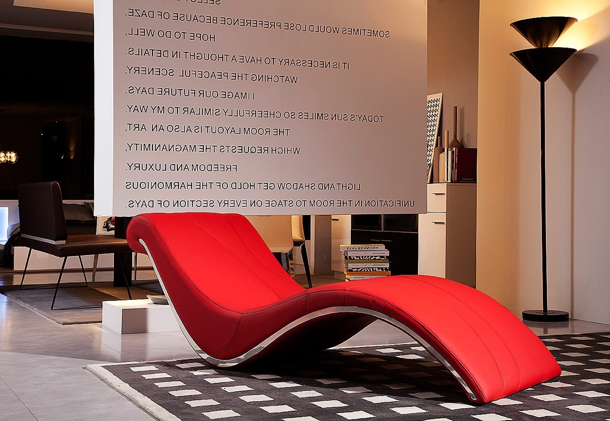 Preferred Modern Red Leather Leisure Lounge Chaise Regarding Modern Leather Chaise Longues (View 11 of 15)