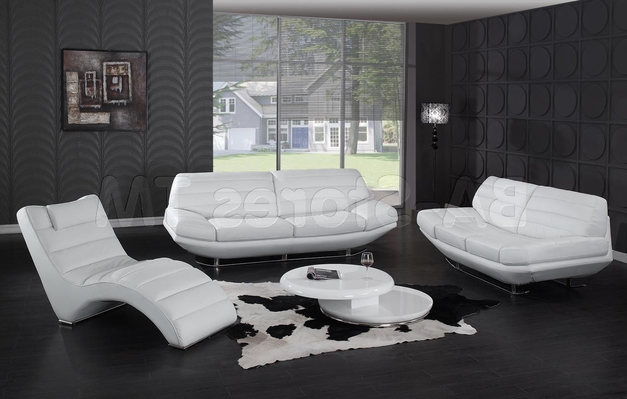 Preferred Modern White 3 Pc Leather Sofa Set (Sofa, Loveseat And Chaise Pertaining To Sofa Loveseat And Chaise Sets (View 6 of 15)