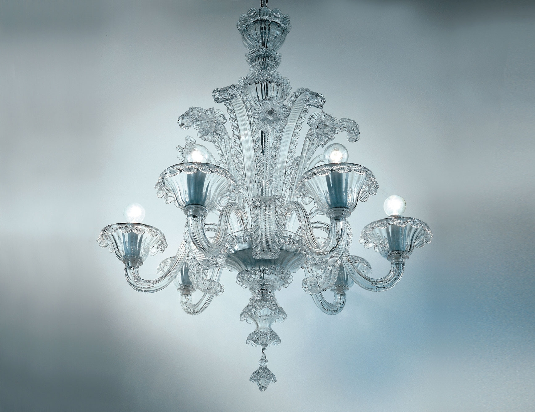 Preferred Nella Vetrina Veneziani Av Mazzega Dolfin 8004 06 Venetian Throughout Clear Glass Chandeliers (View 14 of 15)