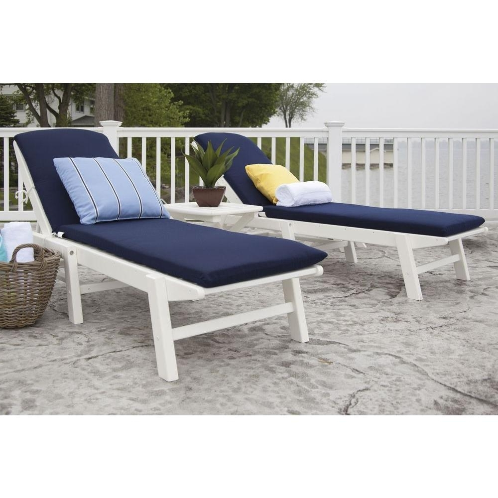 Preferred Outdoor Chaises Intended For Polywood Nautical White 3 Piece Plastic Patio Chaise Set With (View 10 of 15)