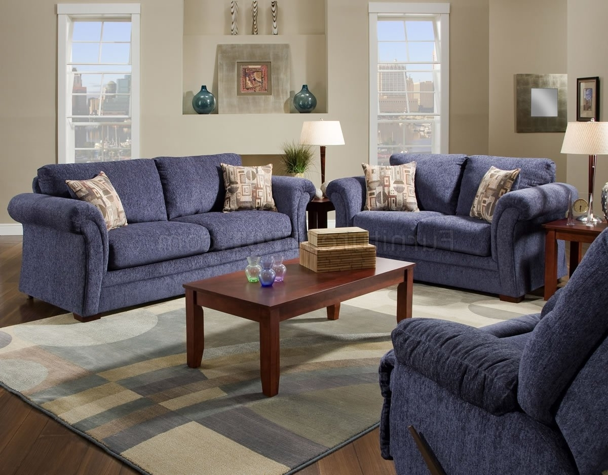 Preferred Plush Blue Fabric Casual Modern Living Room Sofa & Loveseat Set Inside Casual Sofas And Chairs (View 4 of 15)