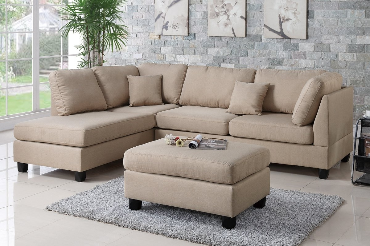 Preferred Poundex Bobkona F7605 Sand Reversible Chaise Sectional Sofa & Ottoman Inside Sectional Sofas With Ottoman (View 12 of 15)