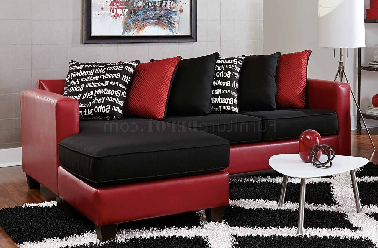 Preferred Red Black Sectional Sofas With Sectional Sofa In Red Bicast & Black Microfiber (View 8 of 15)