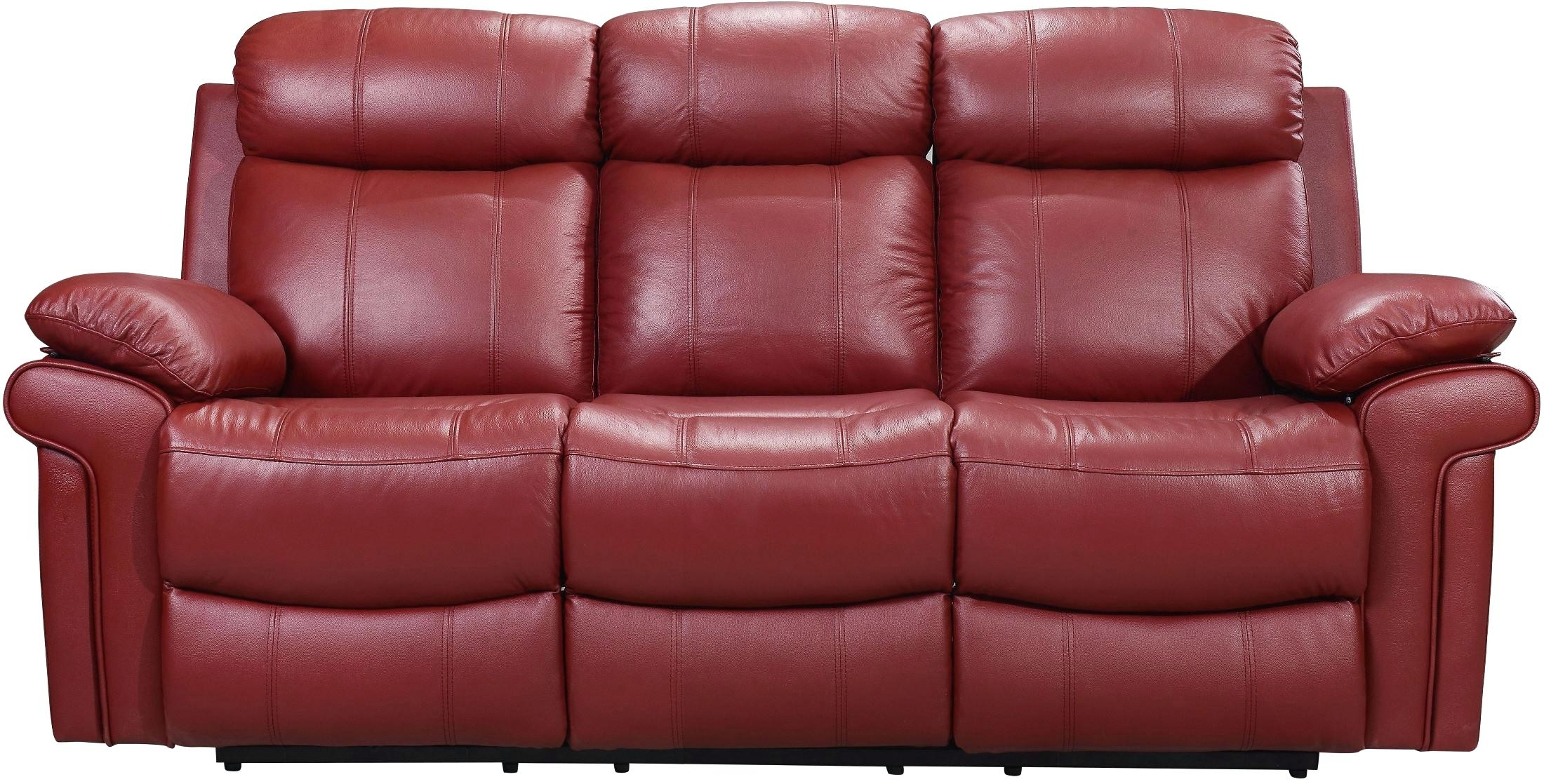 Preferred Red Leather Recliner Red Faux Leather Reclining Sofa Red Leather Intended For Red Leather Reclining Sofas And Loveseats (View 15 of 15)