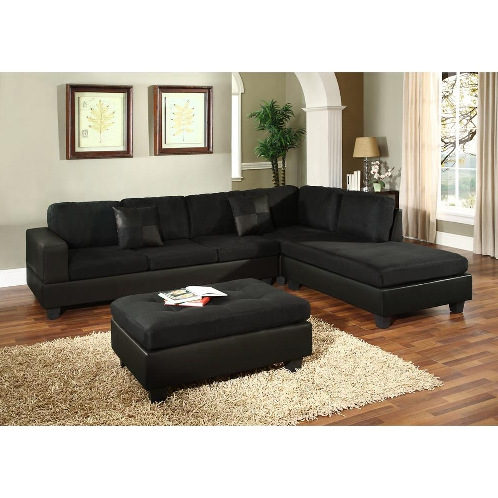 Preferred Sacramento Sectional Sofas In Venetian Worldwide Dallin Black Microfiber Sectional Mfs0005 L (View 13 of 15)