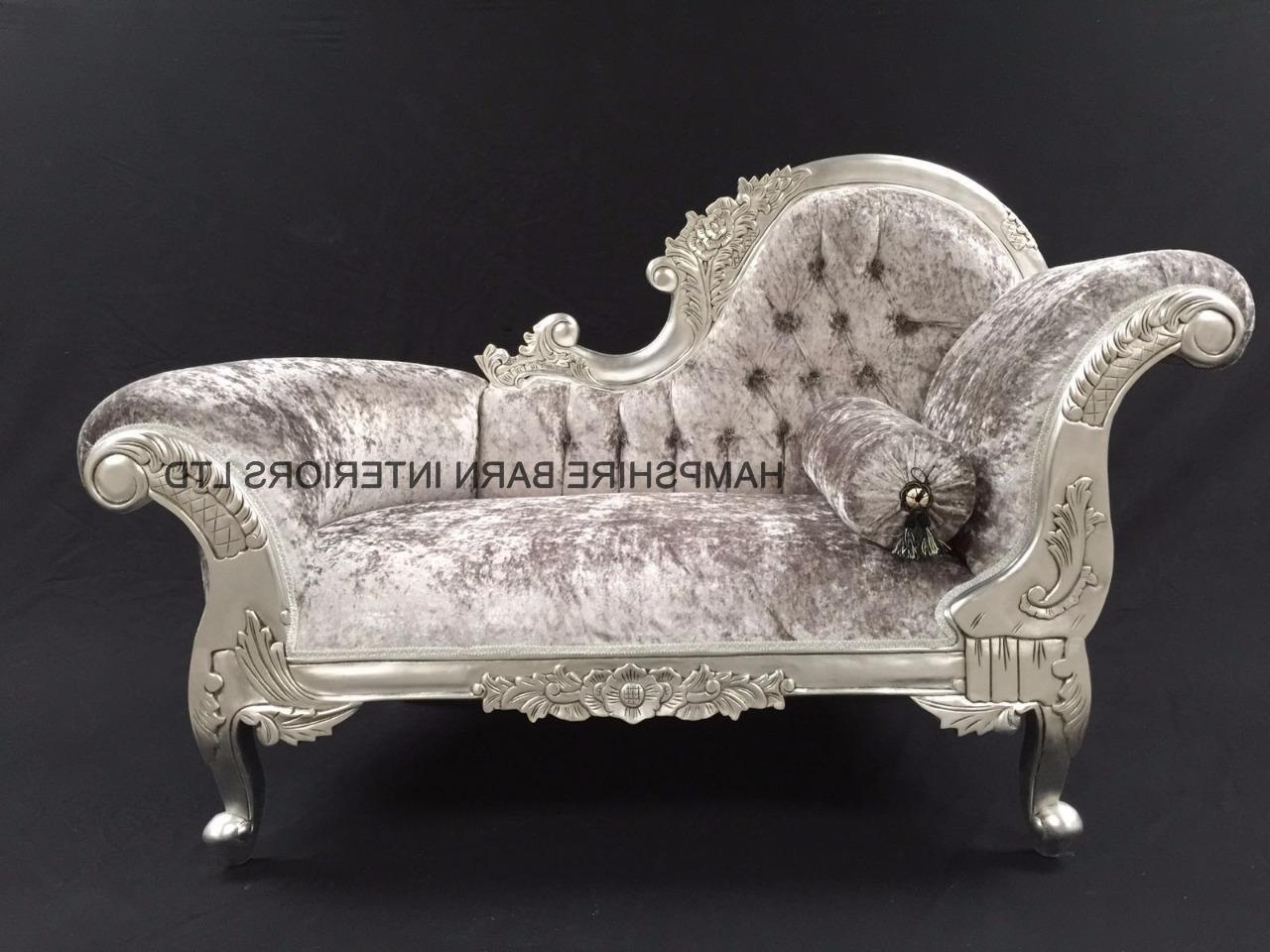 Preferred Small French Chaise Longue Silver Leaf Mercury Grey Crystal Sofa With Regard To French Chaises (View 9 of 15)