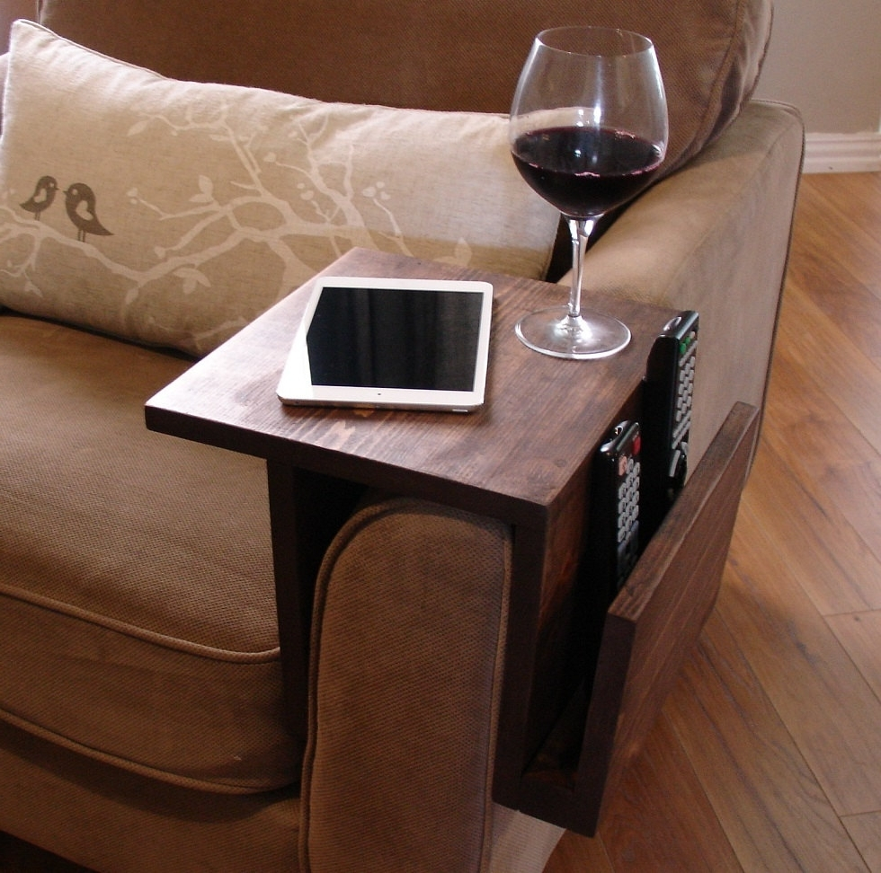 Preferred Sofas With Drink Tables Pertaining To Simply Awesome Couch Sofa Arm Rest Wrap Tray Table With Side (View 10 of 15)