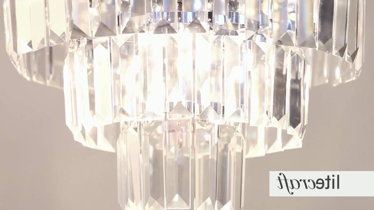 Prism 3 Tier Crystal Flush Ceiling Light – Chrome And Glass With Recent 3 Tier Crystal Chandelier (View 11 of 15)