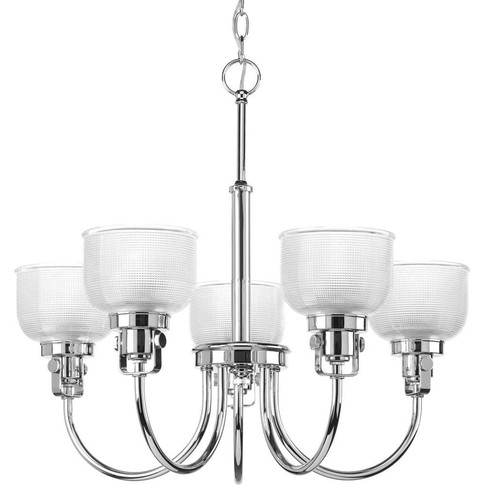 Progress Lighting Archie Collection 5 Light Chrome Chandelier With Regarding 2017 Chrome And Glass Chandeliers (View 14 of 15)