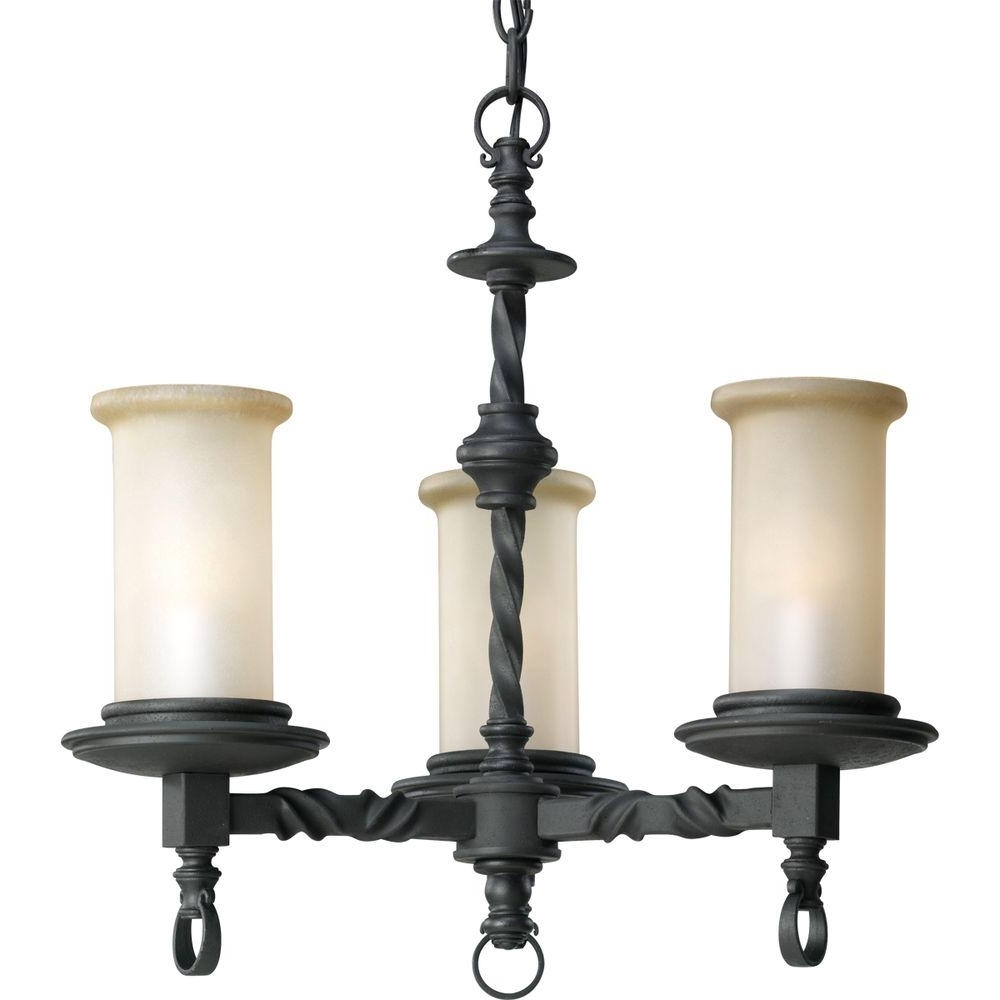 Progress Lighting Santiago Collection 3 Light Forged Black Within Favorite Black Chandeliers (View 14 of 15)
