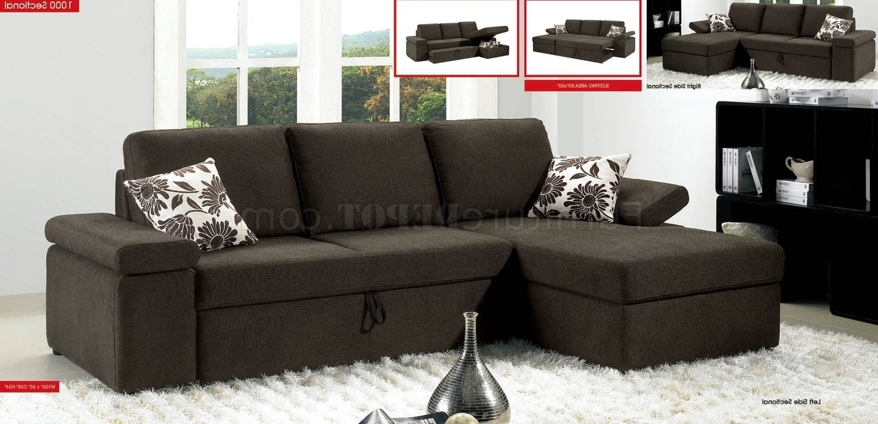 Pull Out Beds Sectional Sofas With Current Charcoal Brown Fabric Modern Sectional Sofa W/pull Out Bed (View 13 of 15)