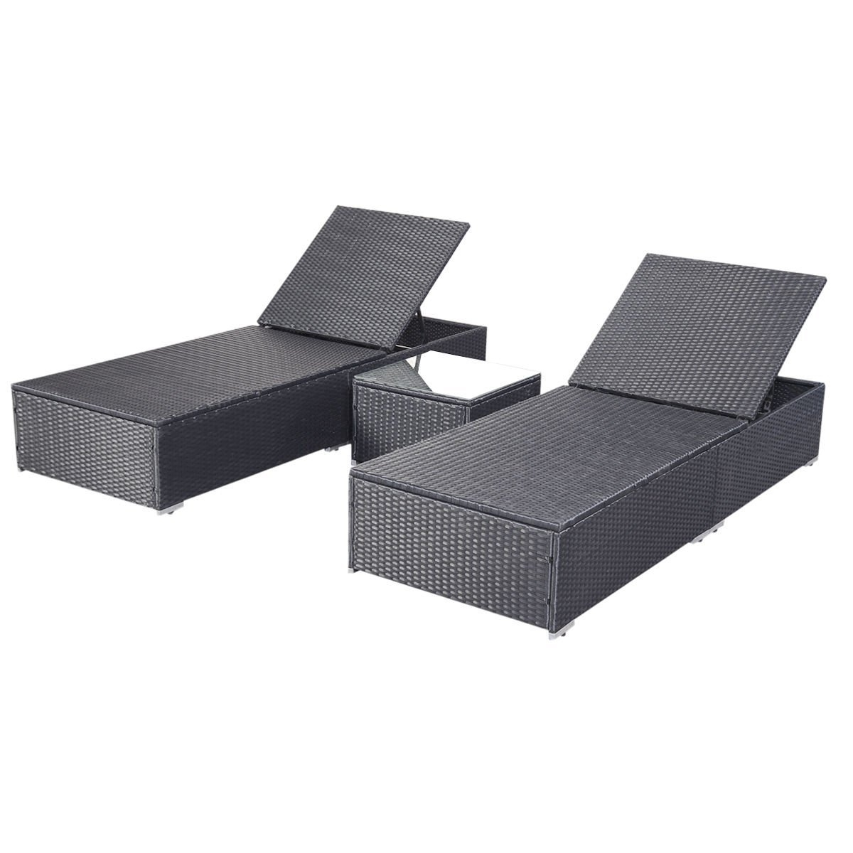 Rattan Chaise Lounges Pertaining To Fashionable Amazon : Giantex 3 Piece Wicker Rattan Chaise Lounge Chair Set (View 10 of 15)