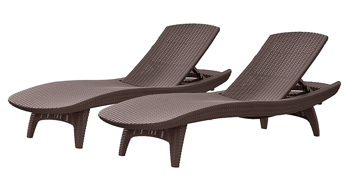 Rattan Chaise Lounges Pertaining To Most Recent Amazon : Keter Pacific 2 Pack All Weather Adjustable Outdoor (View 11 of 15)