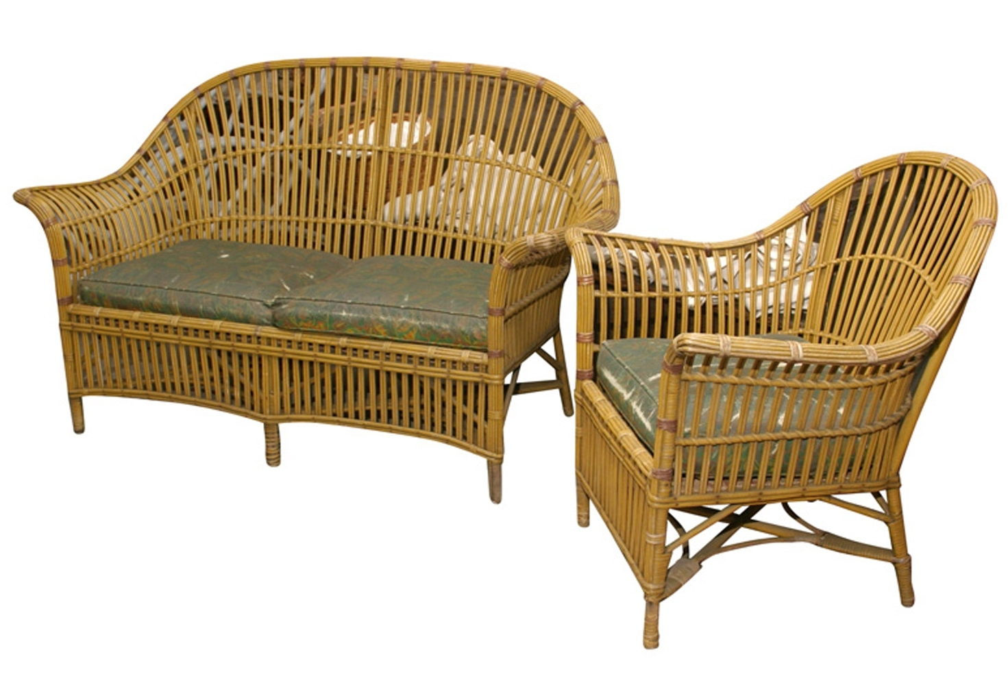 Recent 1930S Sofas With Regard To 1930S Stick Wicker Sofa & Chair, Set (View 4 of 15)