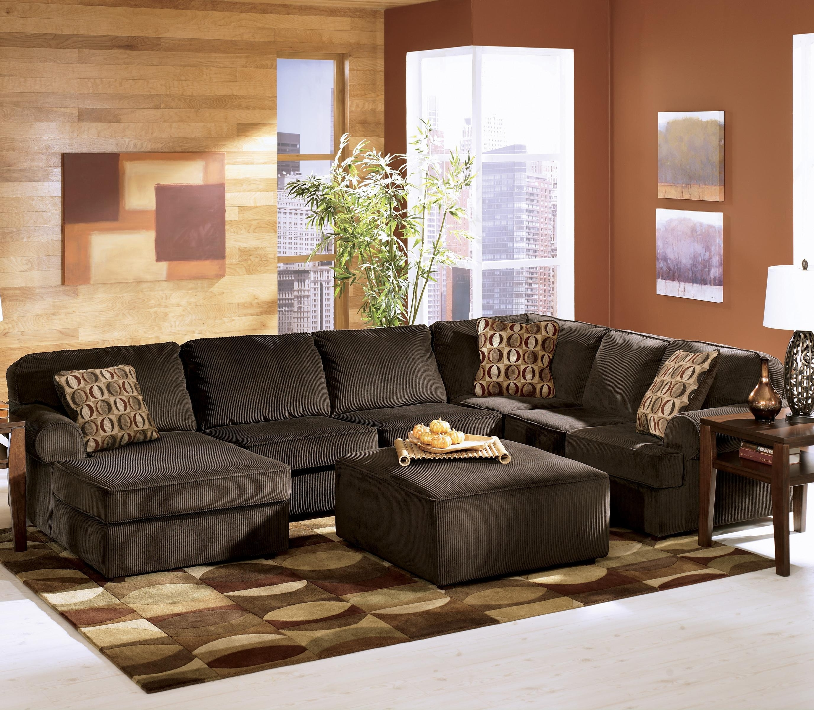 Recent Ashley Furniture Sofa Chaises Pertaining To Ashley Furniture Vista – Chocolate Casual 3 Piece Sectional With (View 13 of 15)