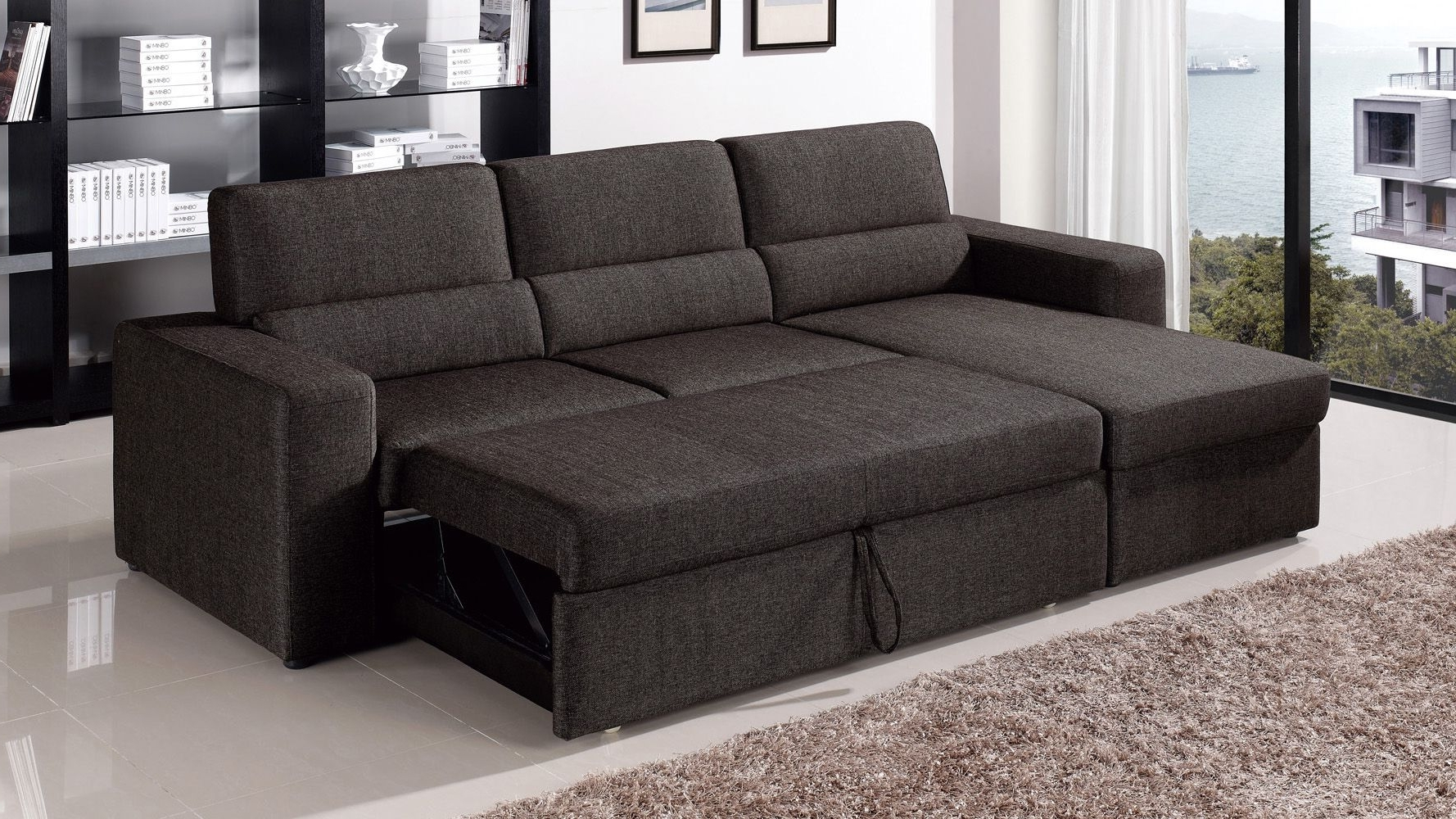 Recent Black/brown Clubber Sleeper Sectional Sofa (View 4 of 15)