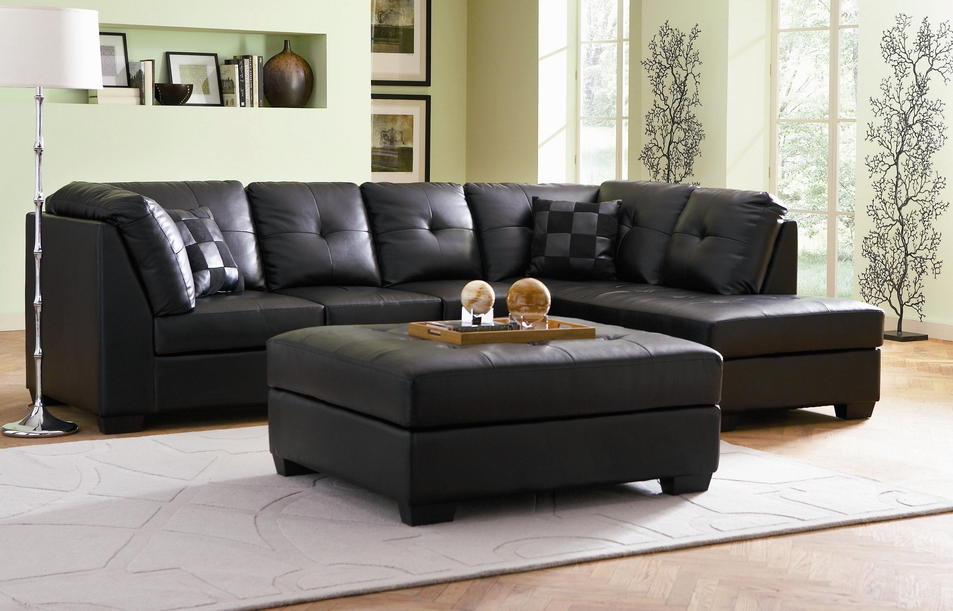 Recent Black Leather Modular Sectional Sofa With Ikea Ottoman With Regard For Leather Modular Sectional Sofas (View 13 of 15)