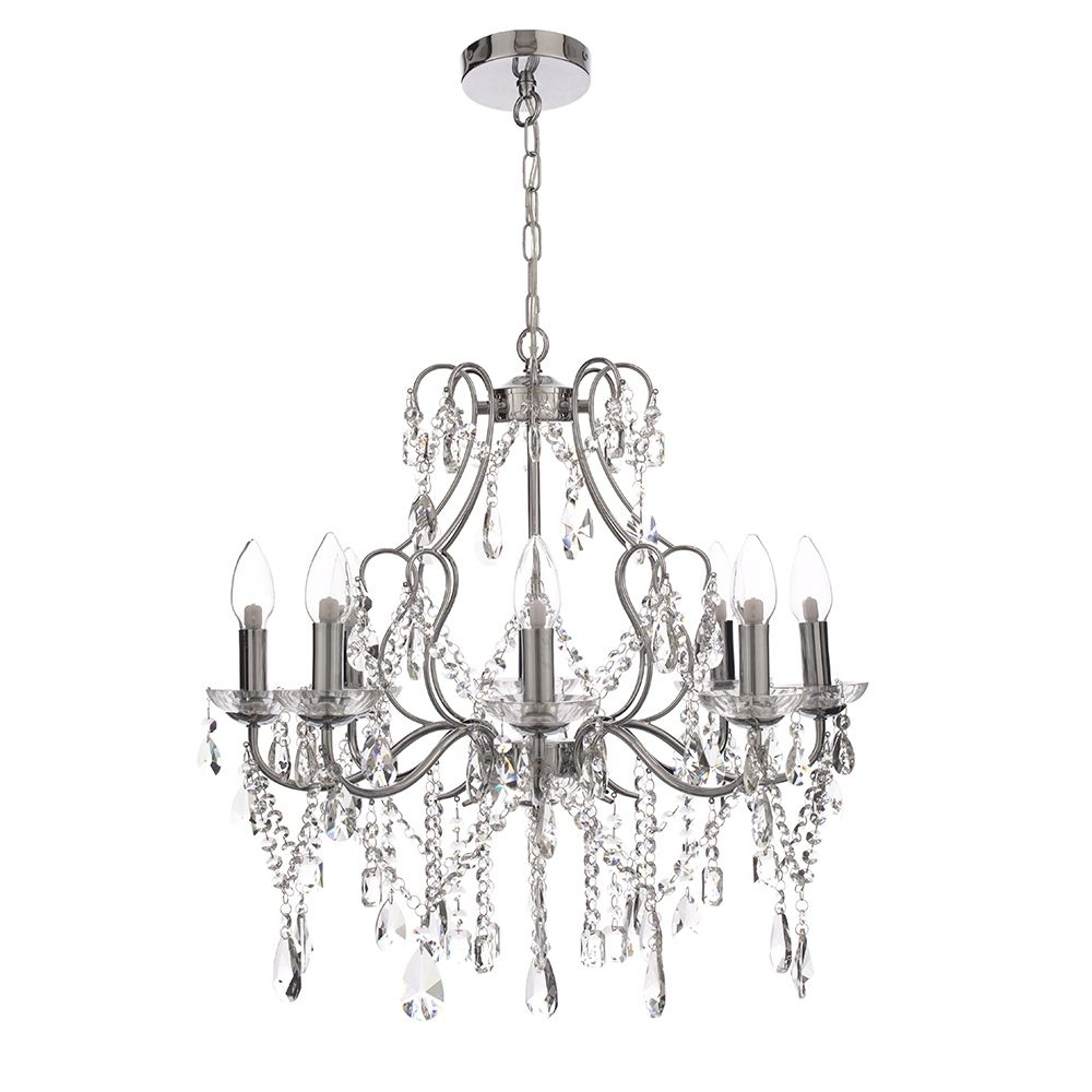 Recent Chrome Crystal Chandelier Regarding 8 Light Crystal Chandelier Chrome (View 11 of 15)