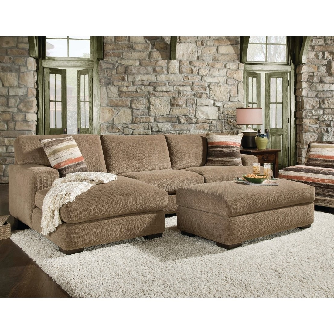 Recent Double Chaise Couches Throughout Beautiful Sectional Sofa With Chaise And Ottoman Pictures (View 14 of 15)