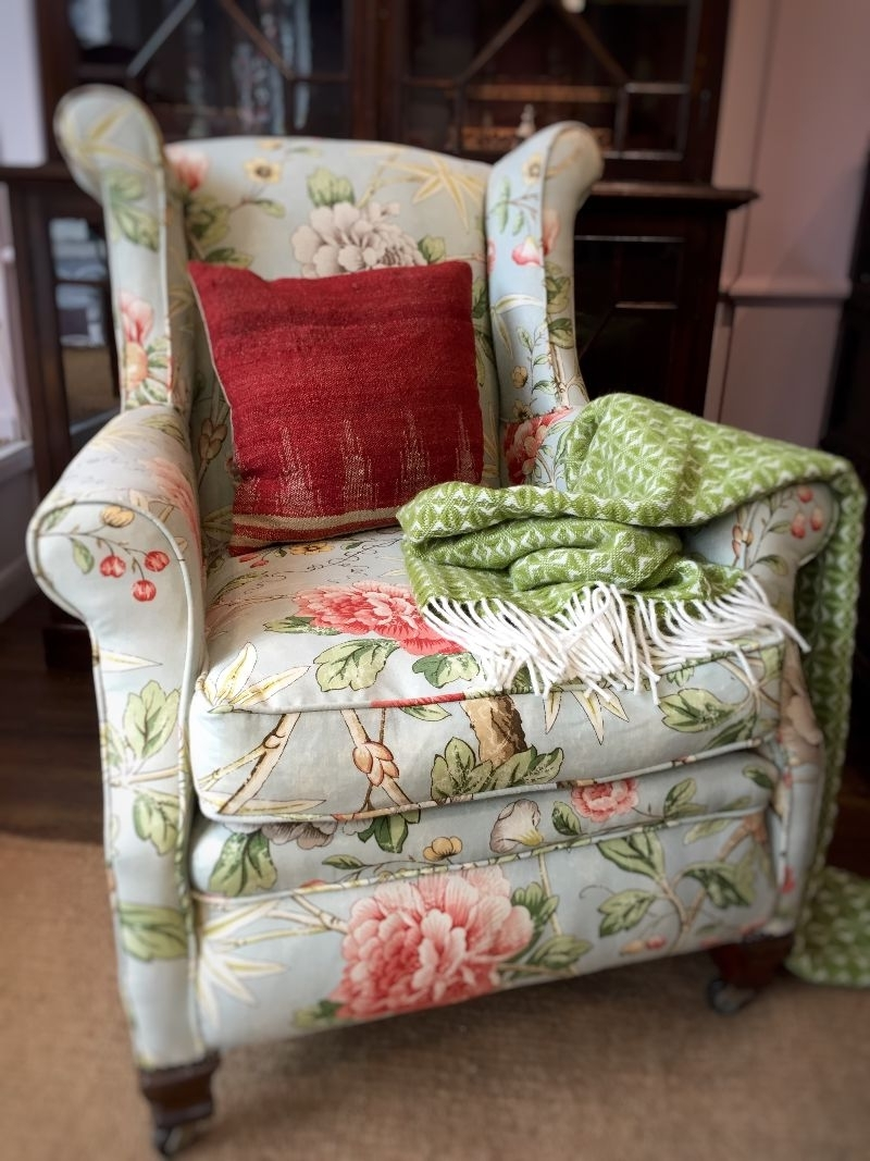 Recent Floral Armchair In Living Room With William Morris Wallpaper Stock Within Chintz Covered Sofas (View 10 of 15)