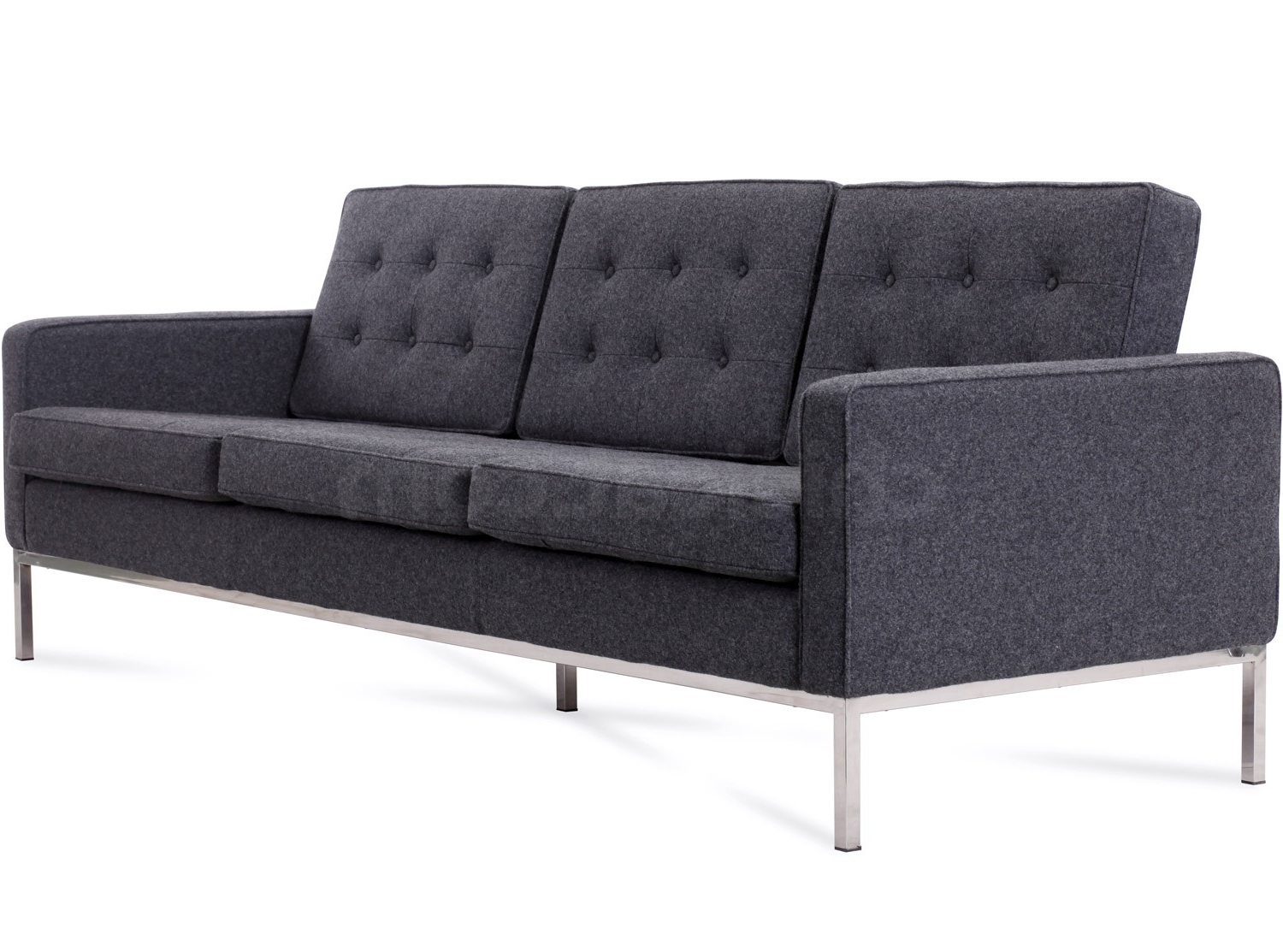 Recent Florence Knoll 3 Seater Sofas With Regard To Florence Knoll Sofa 3 Seater Wool (Platinum Replica) (View 6 of 15)