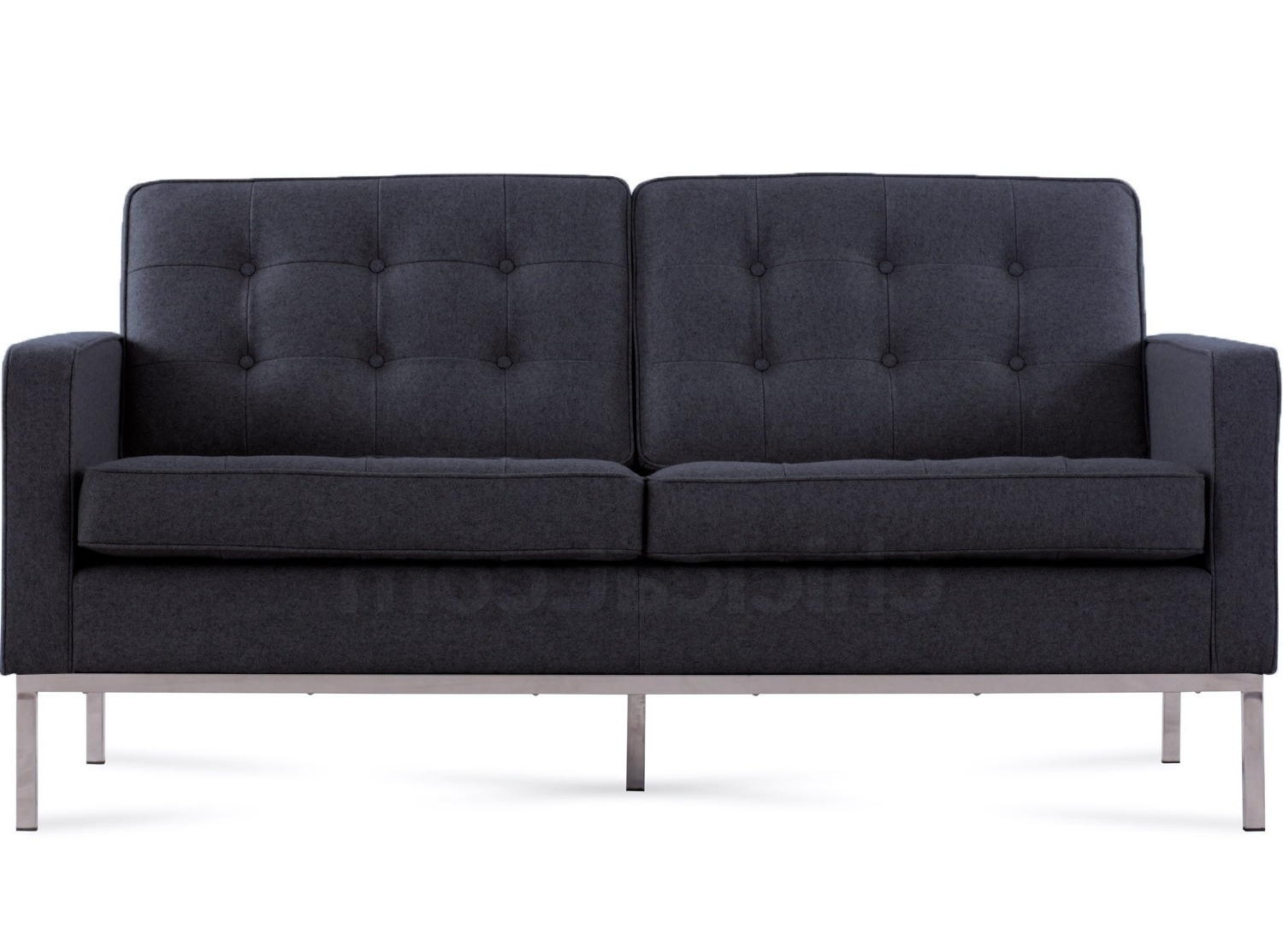 Recent Florence Knoll Sofa 2 Seater Charcoal Wool (Platinum Replica) Pertaining To Florence Knoll Wood Legs Sofas (View 15 of 15)