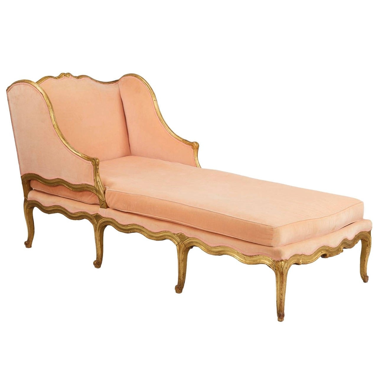 Recent French Louis Xv Style Giltwood Antique Chaise Longue Lounge Settee Regarding Antique Chaise Lounges (View 13 of 15)