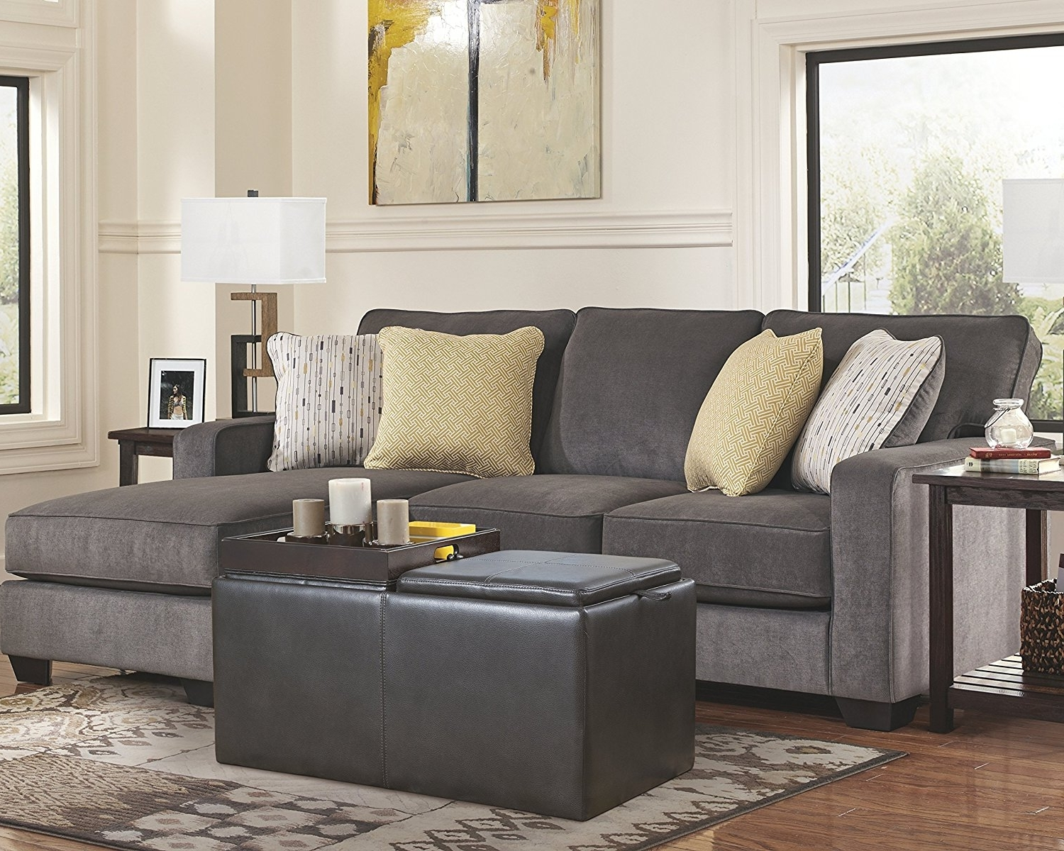 Recent Hodan Sofas With Chaise Intended For Amazon: Ashley Hodan 7970018 93 Inch Sofa Chaise With Pillows (View 8 of 15)