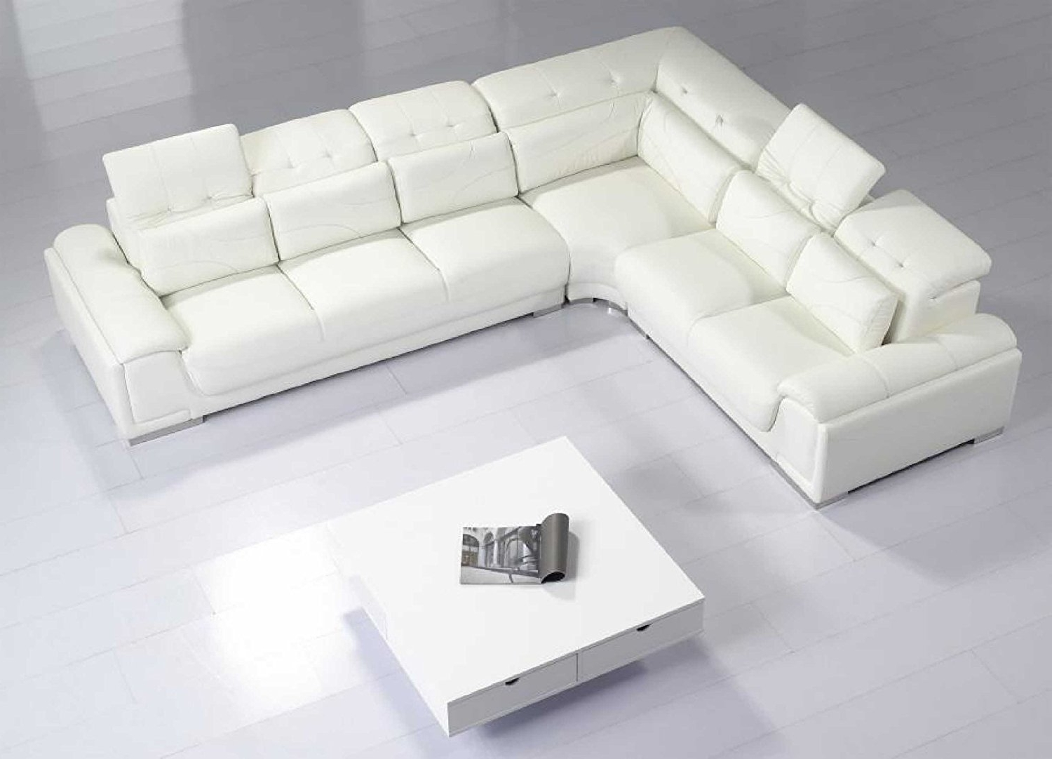 Recent Leather Modular Sectional Sofas Throughout Amazon: Modern Furniture Vig T93C – Modern White Leather (View 7 of 15)