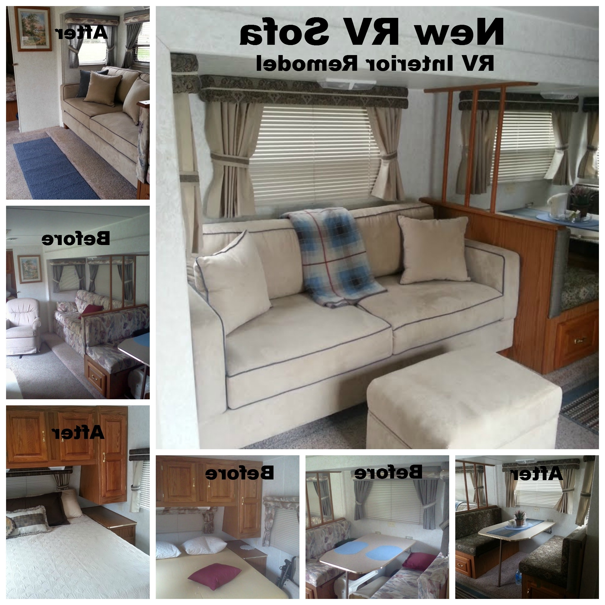 "Recent My Rv (1999 Jayco) Remodel With My New Sofa 72"" X 34"" Sofa Fit Throughout Sectional Sofas For Campers (View 6 of 15)"