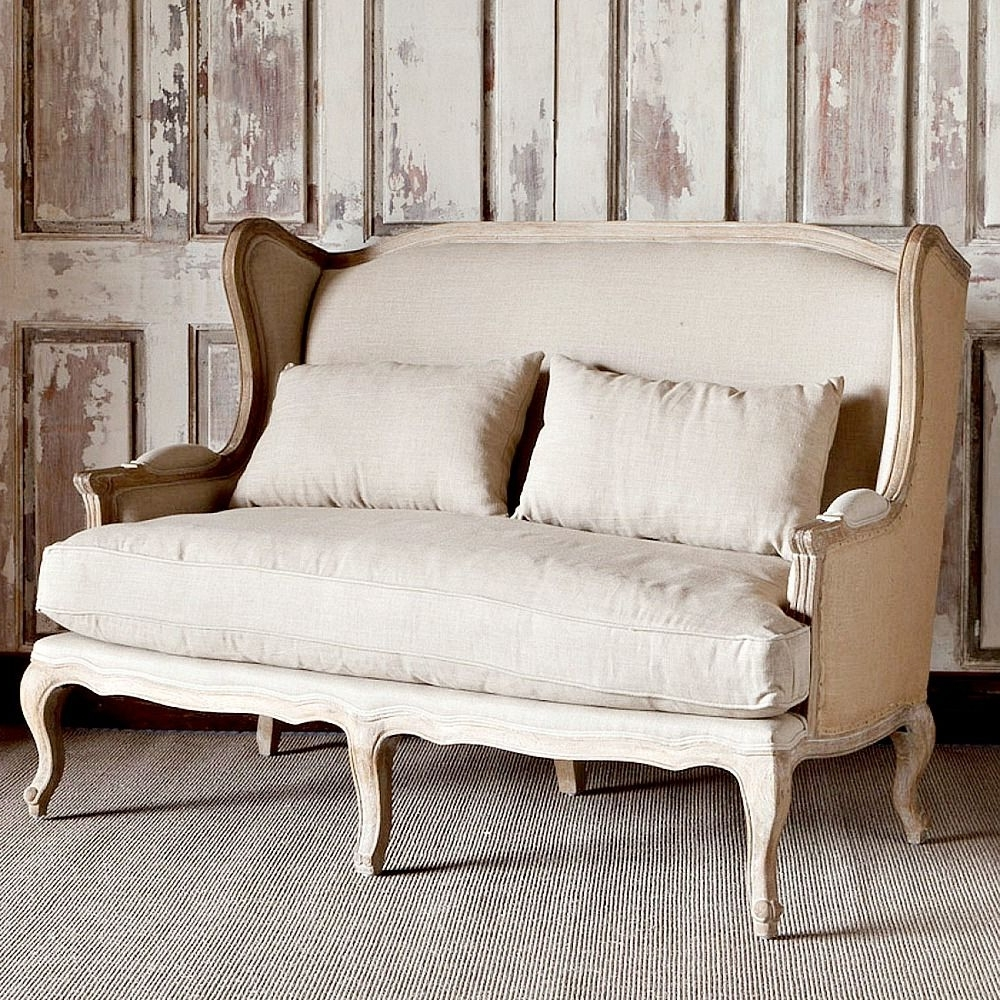 Recent Park Hill Collection Country Linen & Burlap Wingback Settee Intended For Country Cottage Sofas And Chairs (View 14 of 15)