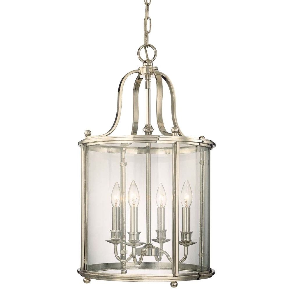 Recent Polished Nickel Cage Chandelier With Four Lights (View 12 of 15)