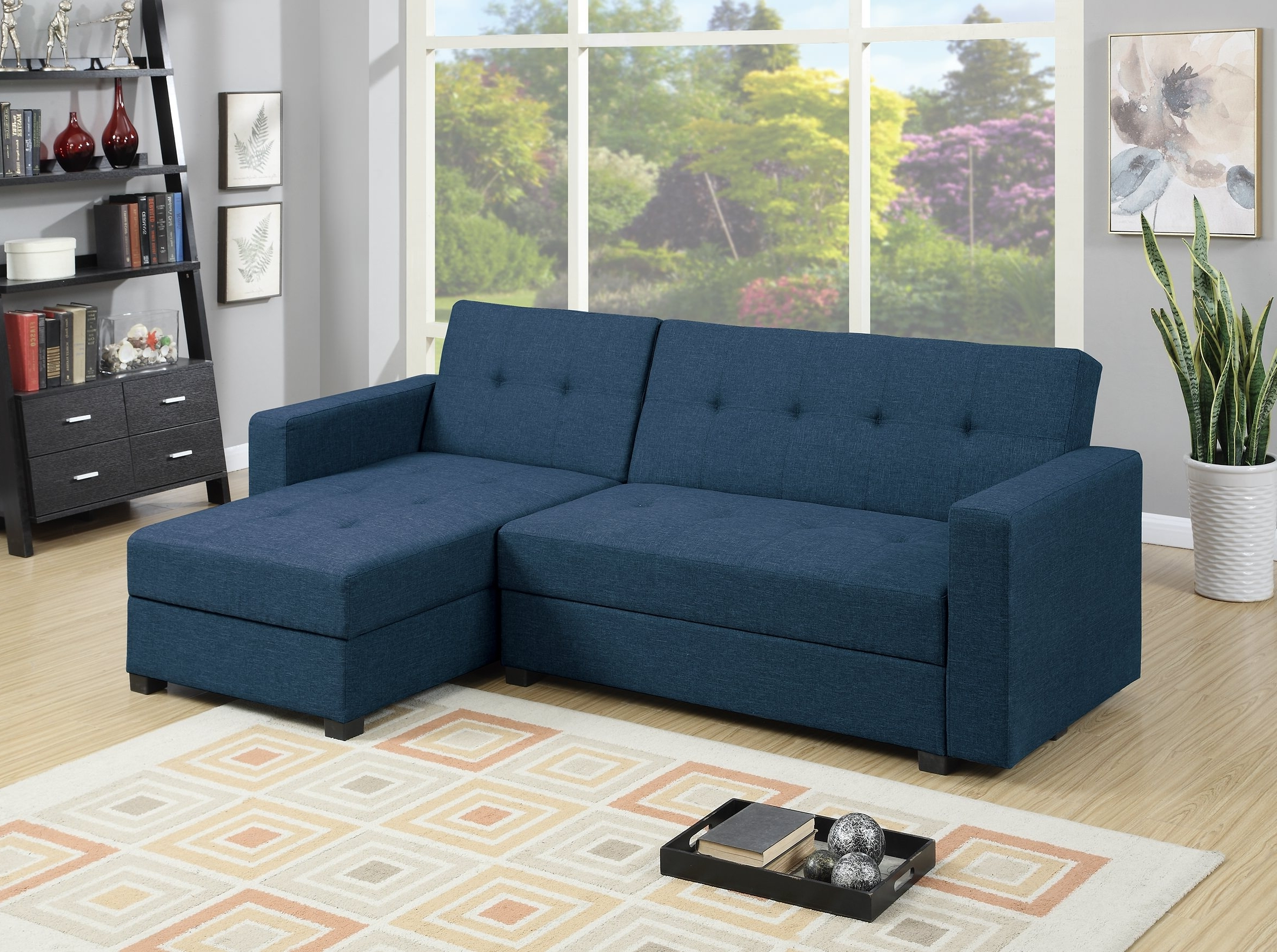 Recent Reversible Chaise Sofas Regarding F7895 Navy Blue Reversible Chaise Sectional Sofapoundex (View 9 of 15)