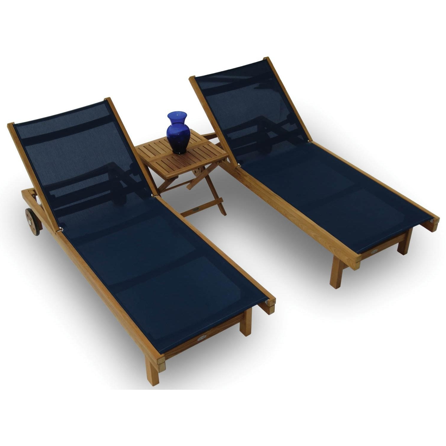 Recent Royal Teak Collection Sundaze 2 Person Sling Chaise Lounge Set Regarding Sling Chaise Lounges (View 9 of 15)
