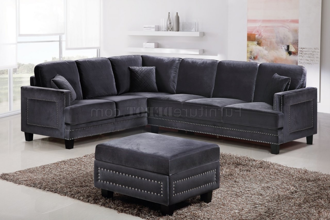Recent Sectional Sofas With Nailheads Intended For Ferrara Sectional Sofa 655 In Grey Velvet Fabric W/options (View 5 of 15)
