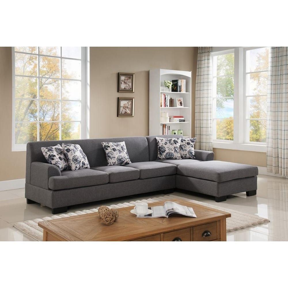 Recent Sectionals With Reversible Chaise Regarding 2 Piece Brown Linen Sectional S0072 2Pc – The Home Depot (View 9 of 15)
