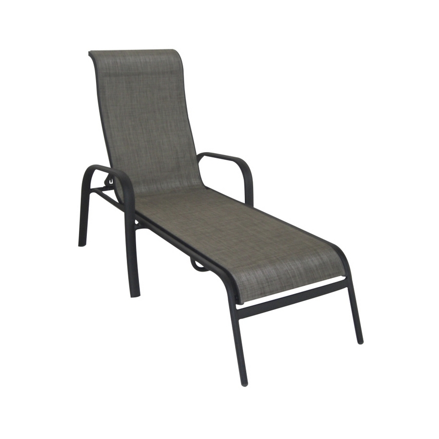 Recent Shop Garden Treasures Burkston Sling Chaise Lounge Patio Chair At With Regard To Sling Chaise Lounge Chairs (View 6 of 15)