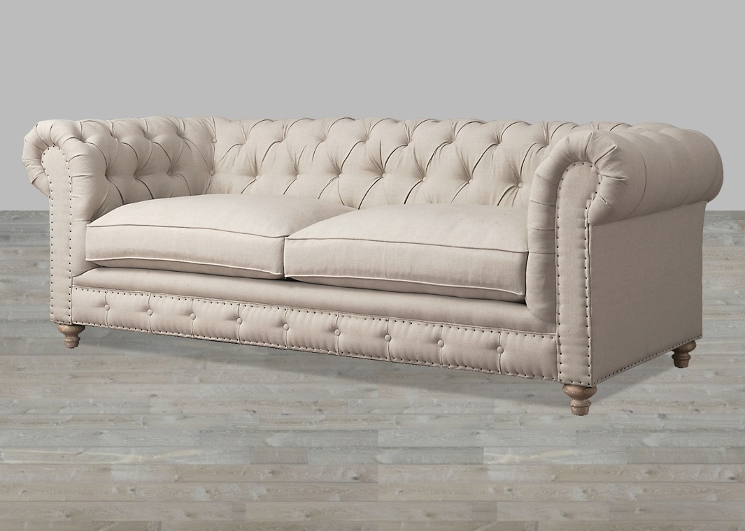 Recent Tufted Linen Sofas For Grey Linen Sofa With Nailheads (View 2 of 15)