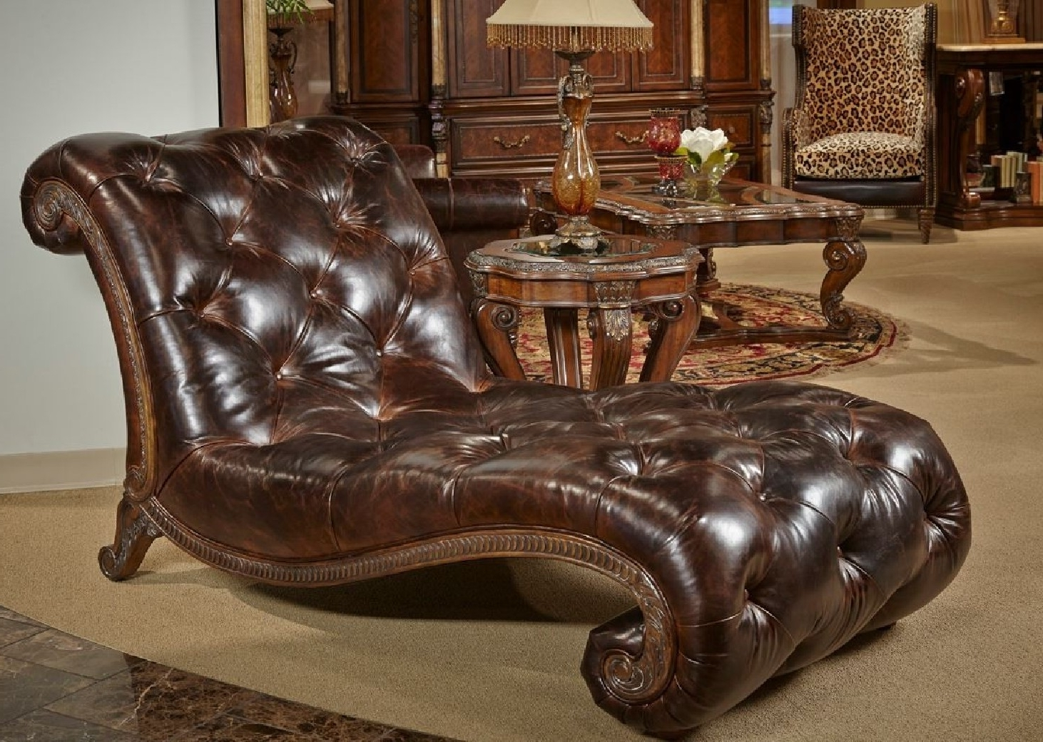 Recent Victoria Palace Collection Tufted Leather Armless Chaise Within Armless Chaises (View 9 of 15)