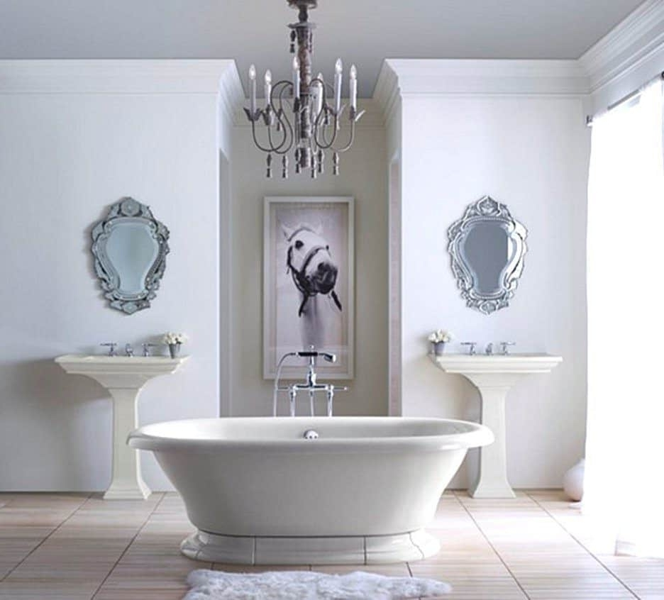 Recent White Bathroom With Traditional Chandelier Bathroom Light Fixtures In Chandelier Bathroom Lighting Fixtures (View 15 of 15)