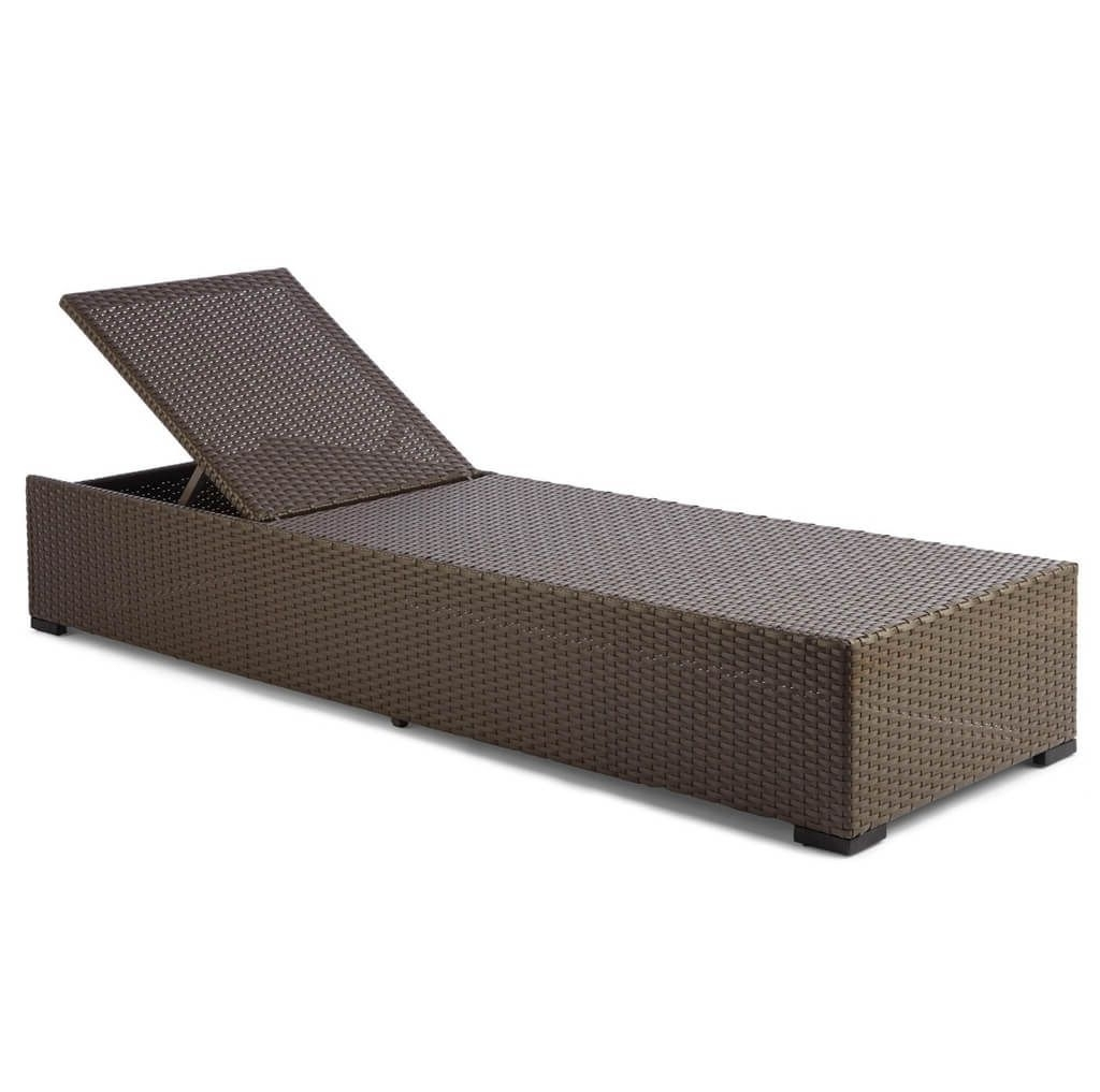Recent Wicker Chaise Lounges Inside Furniture: Resin Wicker Outdoor Chaise Lounge In Brown Finish (View 7 of 15)