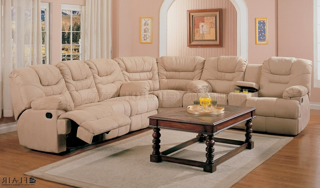 Reclining Sectional Sofas In Trendy Beige Saddle Fabric Stylish Modern Reclining Sectional Sofa (View 10 of 15)