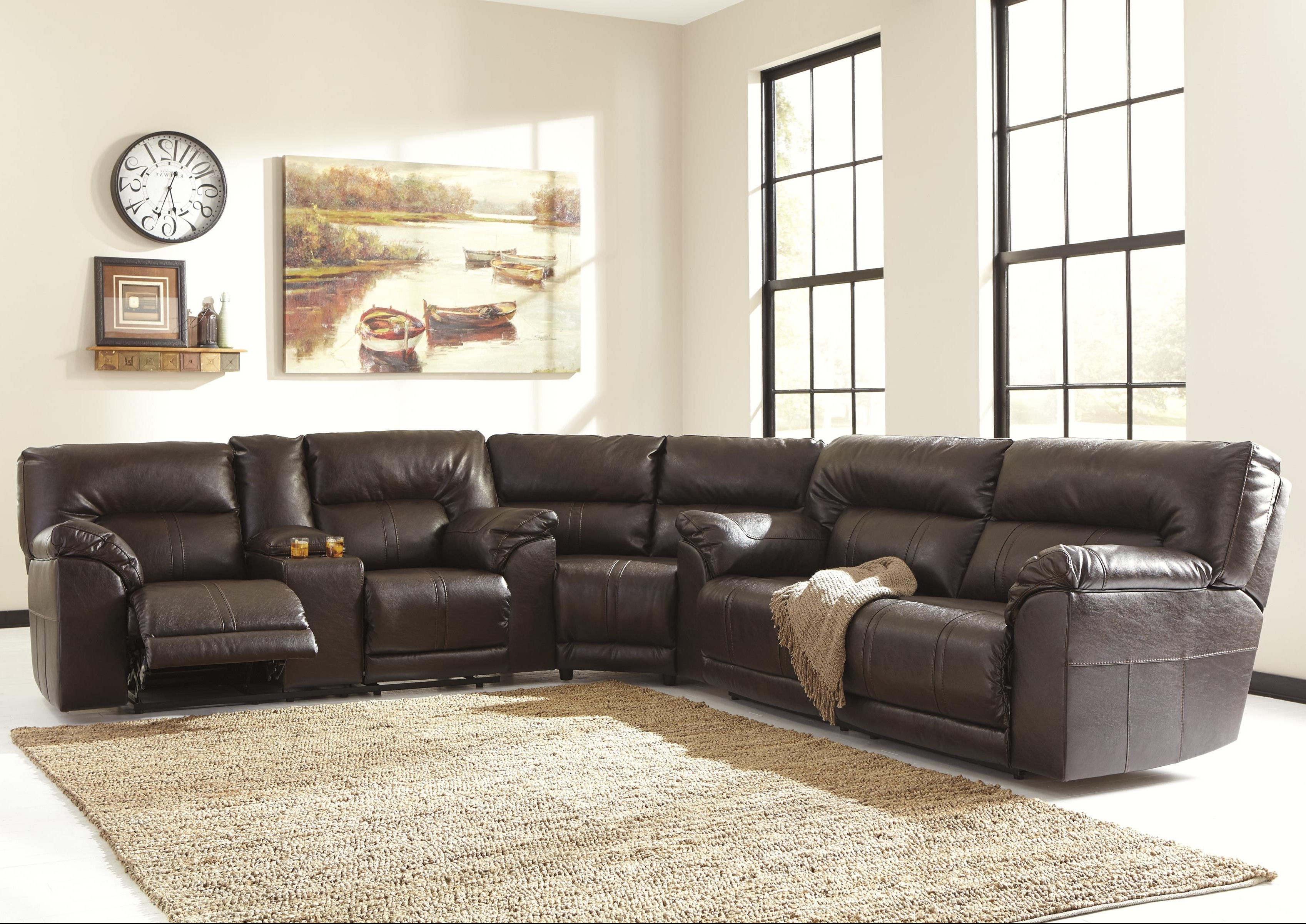 Reclining Sectional Sofas Throughout 2018 Benchcraft Barrettsville Durablend® 3 Piece Reclining Sectional (View 11 of 15)
