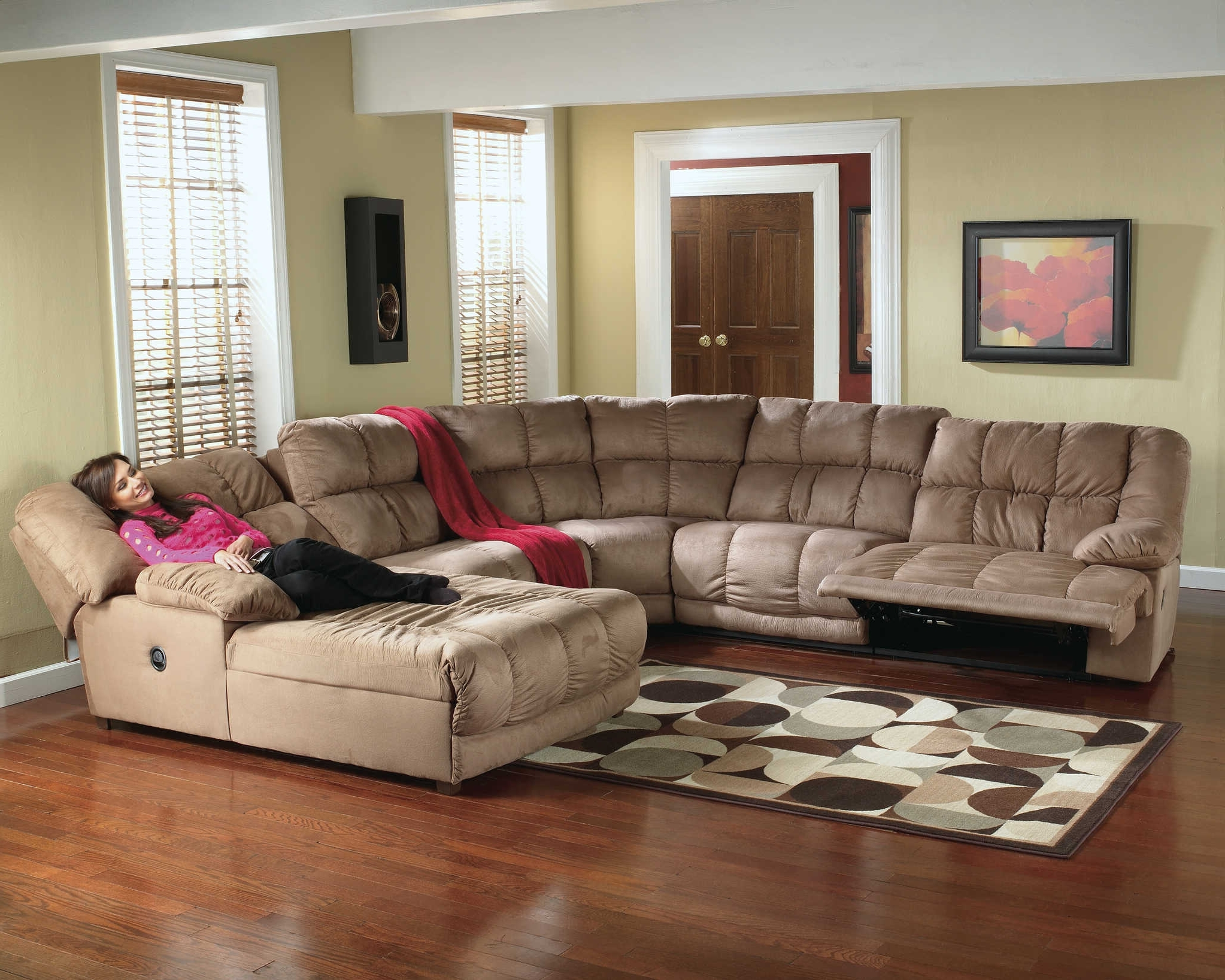 Reclining Sectionals With Chaise Regarding Most Recent Furniture: Pretty Collection Of Microfiber Sectional Sofa (View 8 of 15)